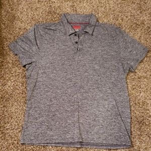 Men's Gray & Black Speckled Slim Fit Polo Shirt